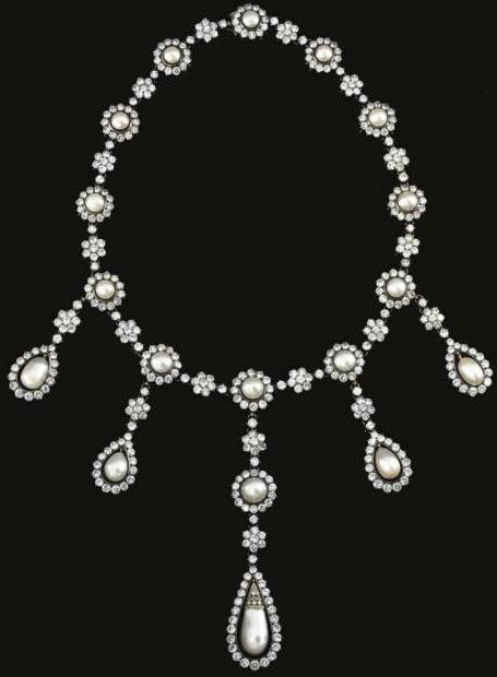 natural pearl and diamond necklace from the collection of an italian noble  family msvwfqy