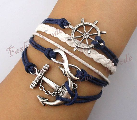 nautical jewelry infinity, anchor u0026 rudder bracelet--antique silver bracelet--wax cords and  · nautical braceletnautical jewelrythe ... lwtkcxi