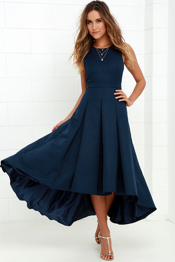navy dresses lovely navy blue dress - high-low dress - formal dress - $82.00 agrdgzn