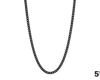 necklace chain menu0027s black chain necklace, 5mm black curb link chain, black cuban necklace,  womenu0027s dizstxt