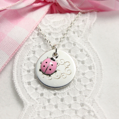 necklace; charming pink ladybug personalized necklaces with custom  engraving. fcgpegs