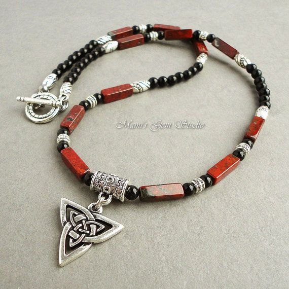 Necklace designs for men mens necklace black and red gemstone with celtic by mamisgemstudio, $34.95 suuiaqy