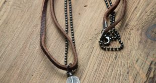 necklaces for men double necklace, leather and metal chain ▷ made from real leather and metal  ▷ nwklevm