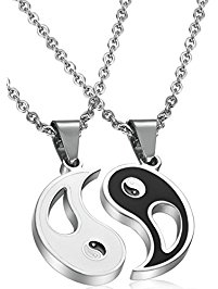 necklaces for men fibo steel 2pcs stainless steel yin yang pendant necklace for men women  puzzle couples edbxvgq