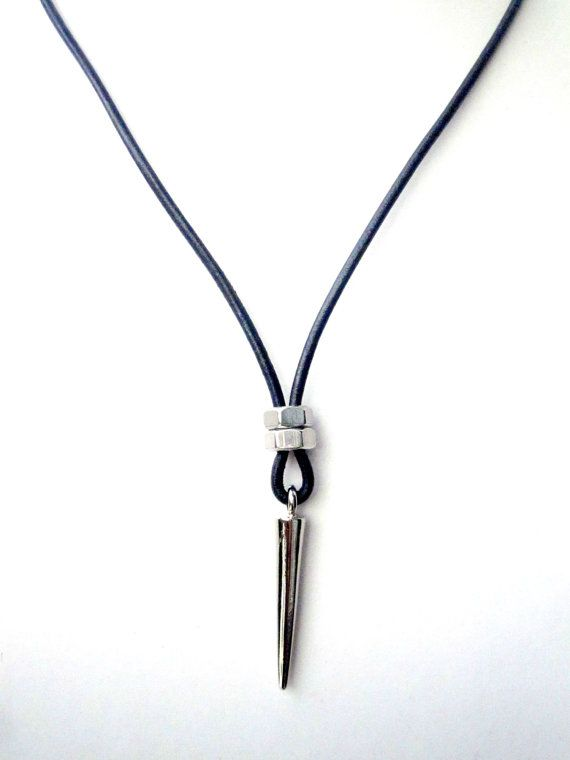 necklaces for men mens necklace w/ spike pendant mens leather by pearlatplay on etsy usqovms