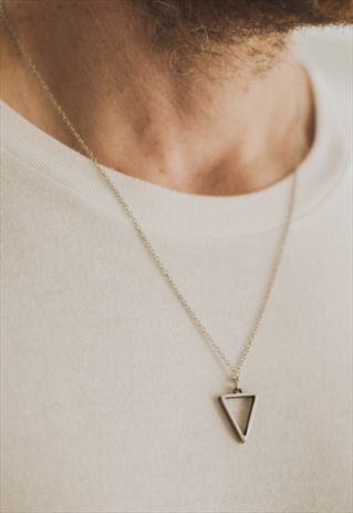 necklaces for men triangle chain necklace for men silver geometric pendant him wvgoadn