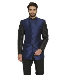 nehru jacket buy irin ethnic blended silk blue indo-western bandgala (indian coat) for  men mmybdqj