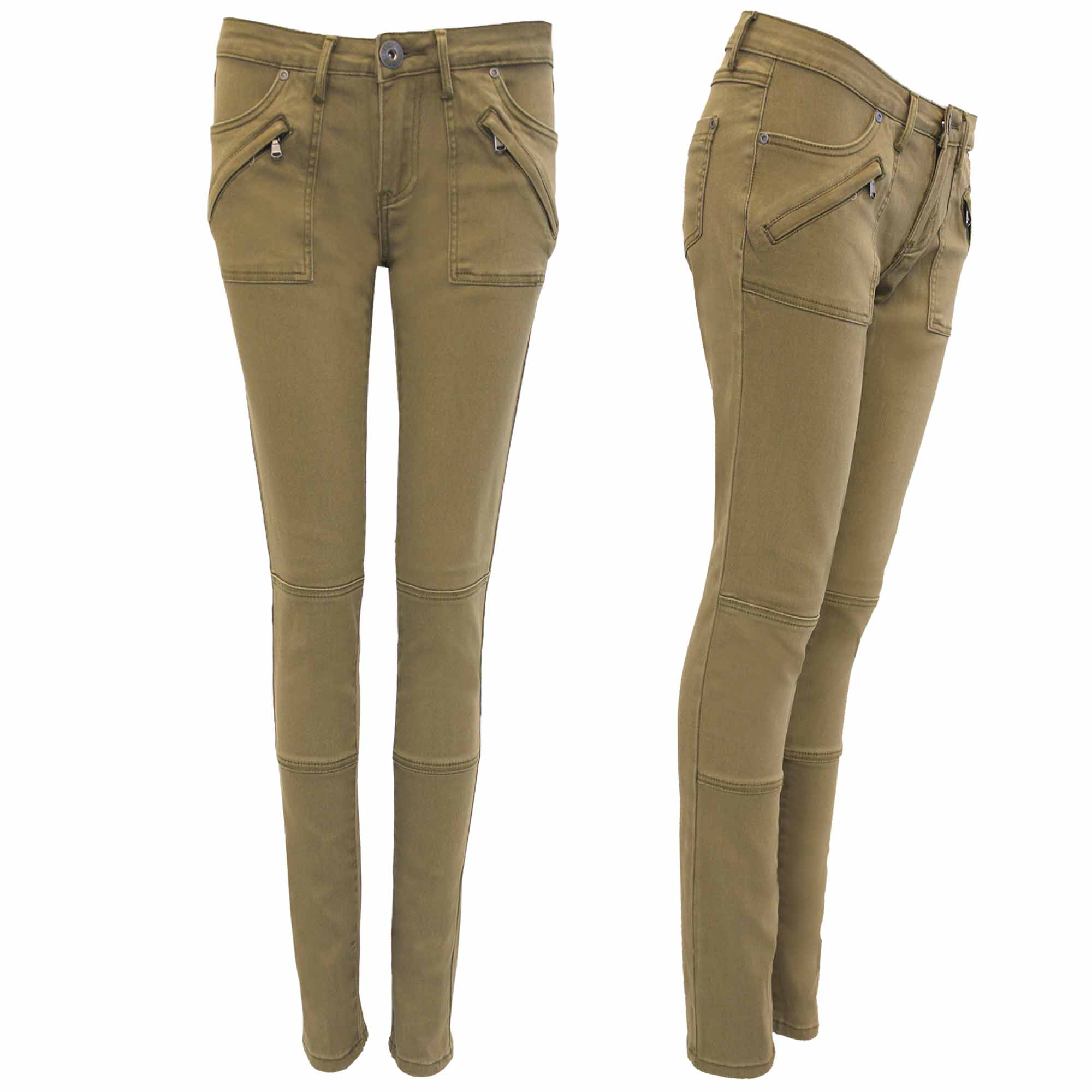 new ladies combat skinny fit jeans women zip cargo khaki trousers slim look  6-14 lbkimlw
