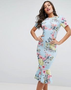occasion wear asos t-shirt floral midi dress with pephem hjziijb