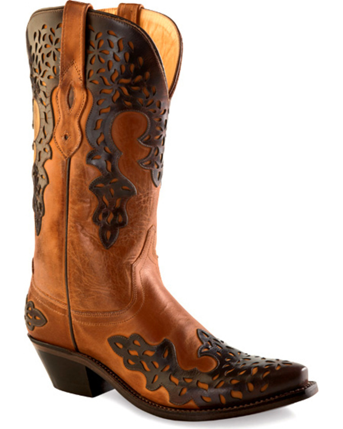 old west boots old west womens dark brown overlay western boots - snip toe , brown, hi- agyqewx