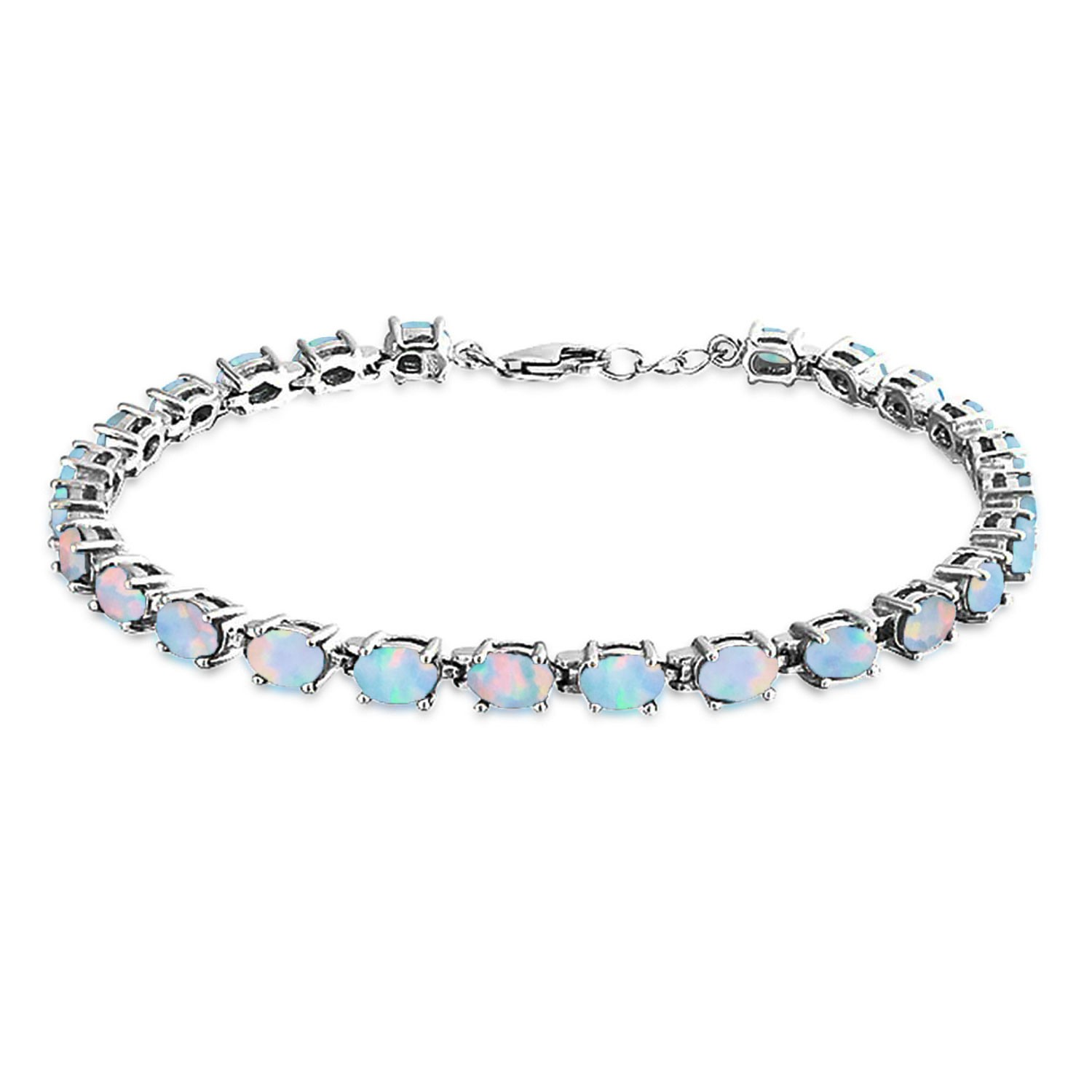 opal bracelet bling jewelry 925 silver synthetic opal oval tennis bracelet 7.5in rjovdfc