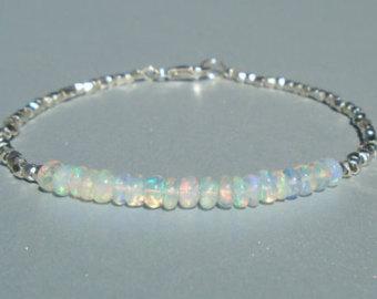 opal bracelet, ethiopian opal bracelet, dainty beaded bracelet, october  birthstone, karen hill yxfkpjl
