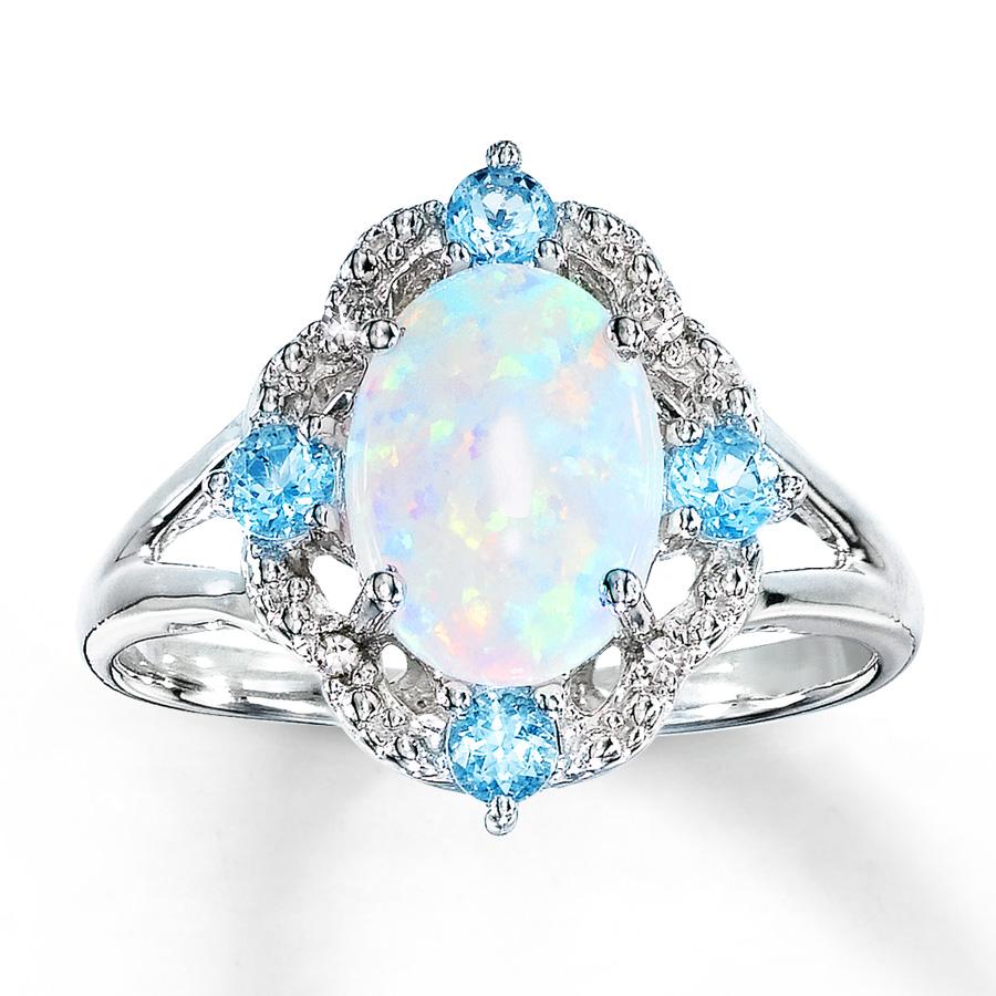 opal jewelry lab-created opal ring blue topaz u0026 diamonds sterling silver qinxvac