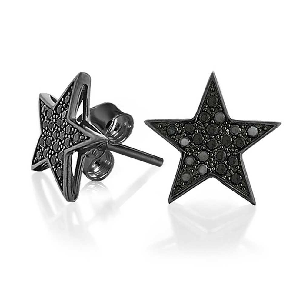 patriotic black star cz stud mens earrings micro pave yvfteoz