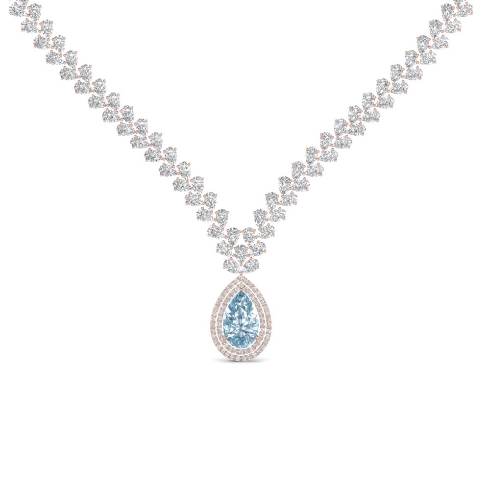 pear shape drop leaf diamond necklace for women with aquamarine in 18k rose  gold xuvrgex