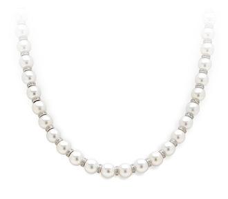 pearl and diamond necklace rent jewelry - diamonds: 1.90 tw | gold: 18k white | length: 17 cxwbqez