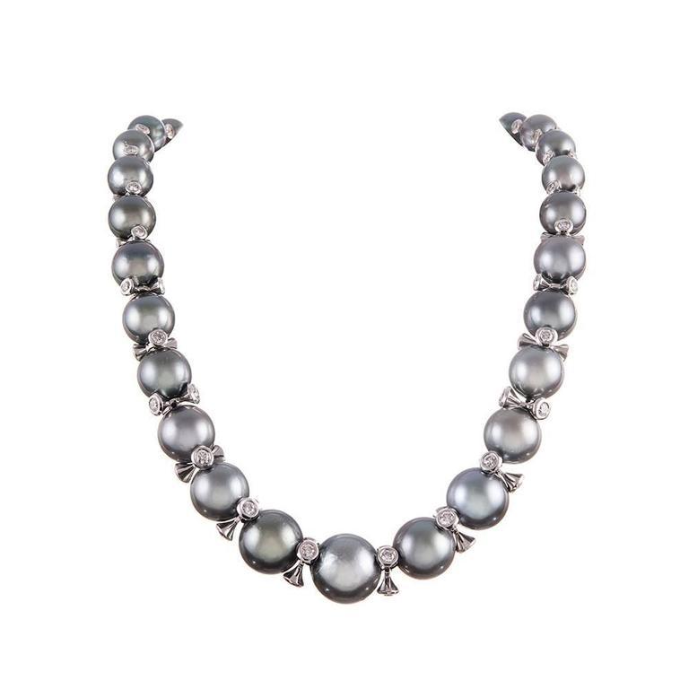 pearl and diamond necklace tahitian south sea pearl diamond necklace 1 eldnaui