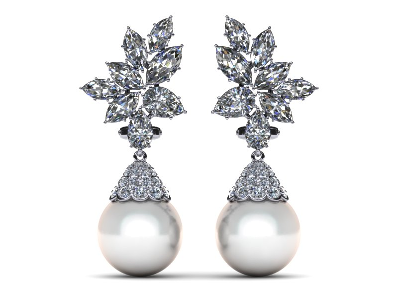 pearl earrings white south sea pearl earring cluster diamond cap style 4.37 carats t.dw. rzbyjhn