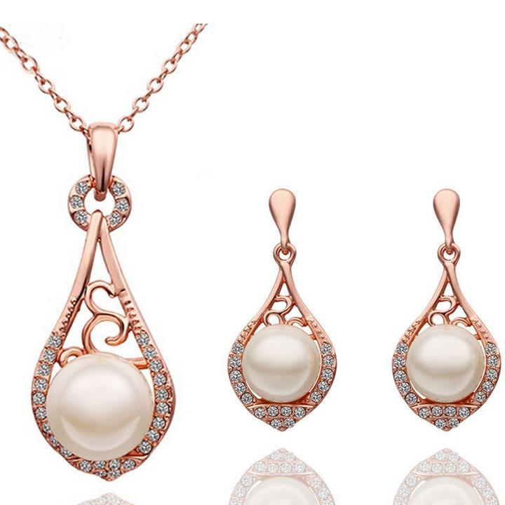 pearl jewellery 2016 fashion female fine jewelry vintage wedding bridal imitation pearl  jewellery sets for women jehevjr