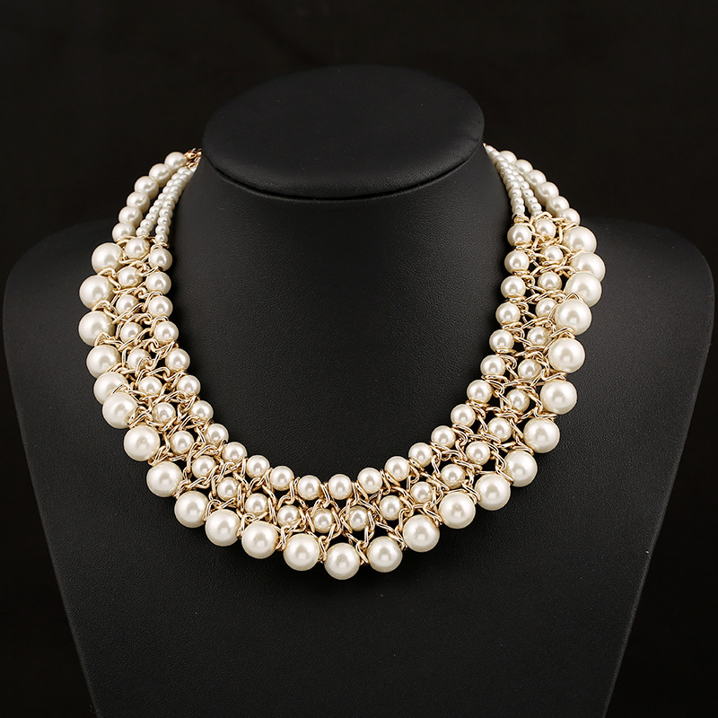 pearl jewellery hot sale women party pearl jewelry luxury vintage style jewellery multiple  pearl necklace statement xligdra