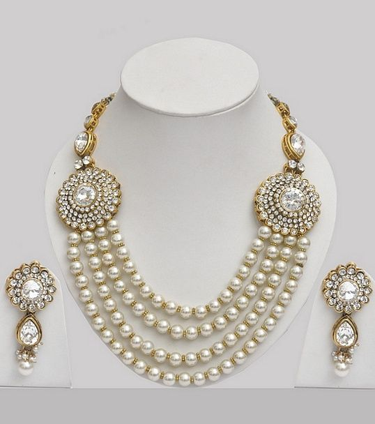 pearl jewellery indian set studded with stones yttdemh