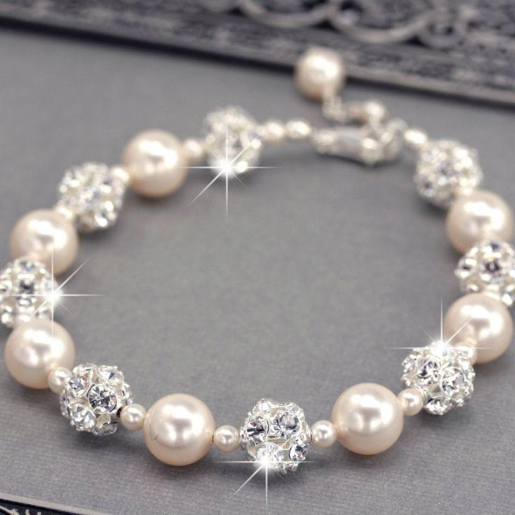 pearl jewellery swarovski pearl and rhinestone bridal bracelet xphooam