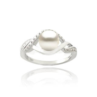 pearl ring sterling silver freshwater pearl and diamond accent swirl ring (7 mm) wpakyas