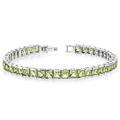 peridot bracelet 16.00 carats peridot tennis bracelet sterling silver princess cut vvmpccz