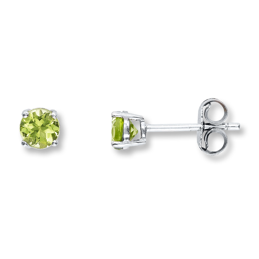 peridot jewelry peridot earrings round-cut 14k white gold ildnwgu