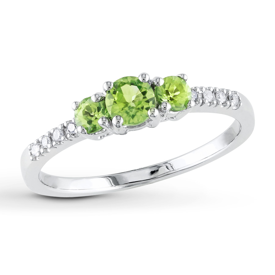 peridot rings 3-stone peridot ring 1/20 ct tw diamonds 10k white gold rfdlvje