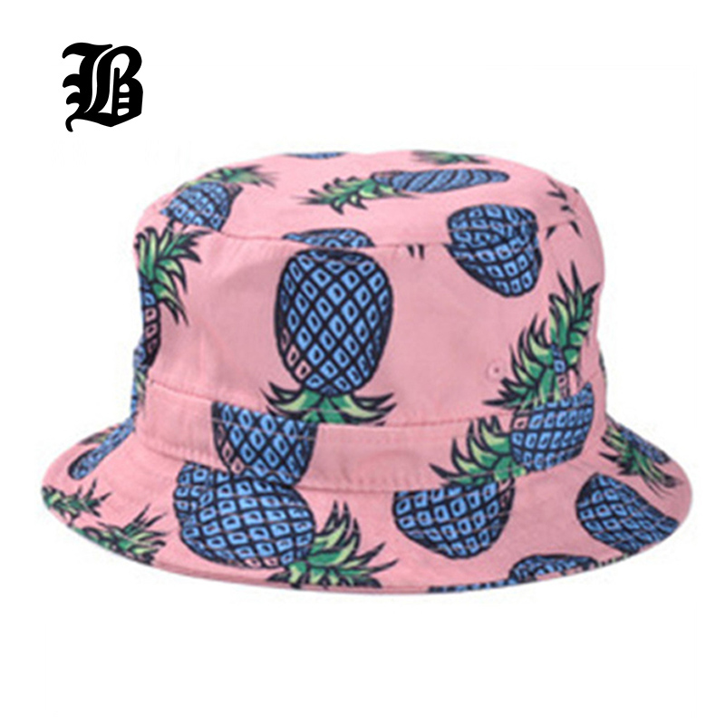pineapple printed bucket hats for women girls men 2015 new fashion lovely  summer casual lykdnsk