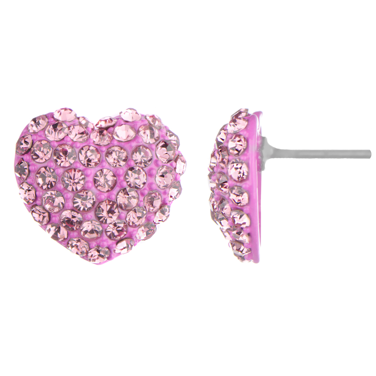 pink earrings ninau0027s pink rhinestone heart stud earrings irfipeg