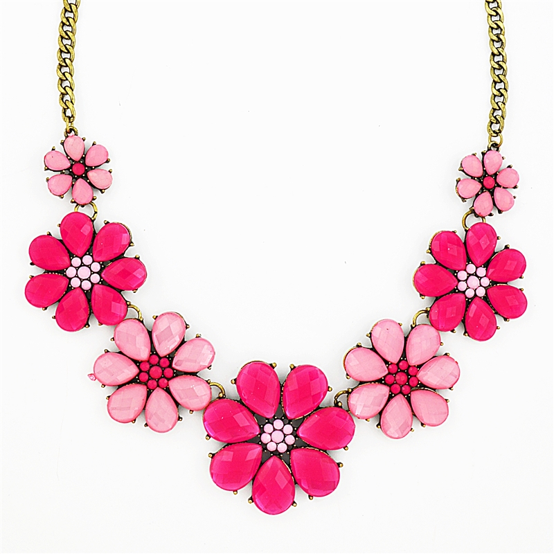 pink flower necklace, pink necklace, bib necklace, hot pink necklace,  crystal necklace dvwxxqp