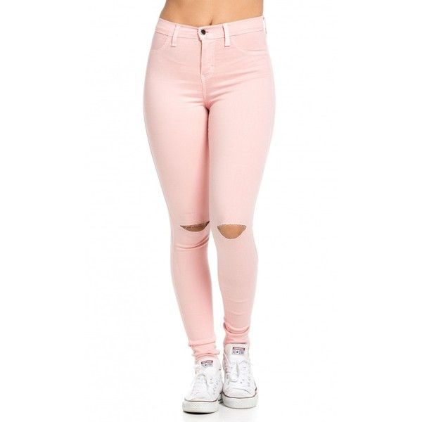 pink skinny jeans high waisted knee slit skinny jeans in light pink ($27) ❤ liked on polyvore gsydycs