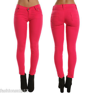 pink skinny jeans image is loading new-womens-low-waist-hot-pink-skinny-jeans- goodsct