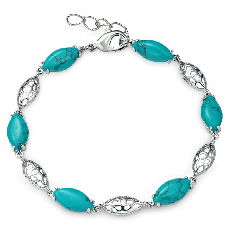 platinum plated marquise cut turquoise bracelet bsnrlsn