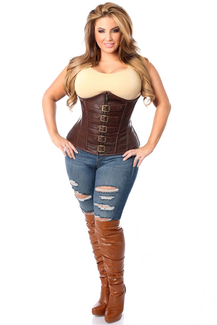 plus size corset top drawer dark brown distressed faux leather underbust buckle plus size  corset mxzoast