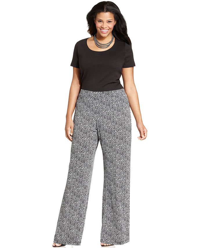 plus size pants ... elementz plus size printed wide-leg soft pants glwzugy