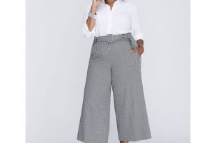 plus size pants lane bryant plus size ashley tailored stretch belted glenplaid culotte  ($70) ❤ liked on kpmnwit