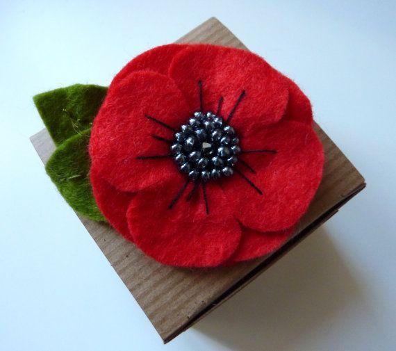 poppy felt brooch flower brooch by createdwithloveuk on etsy, £9.00 eygcfzq