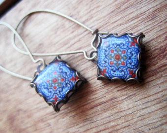 portuguese tile jewelry, iberian dangle earrings, handcrafted jewelry,  spanish tile drop earrings, sulwylr