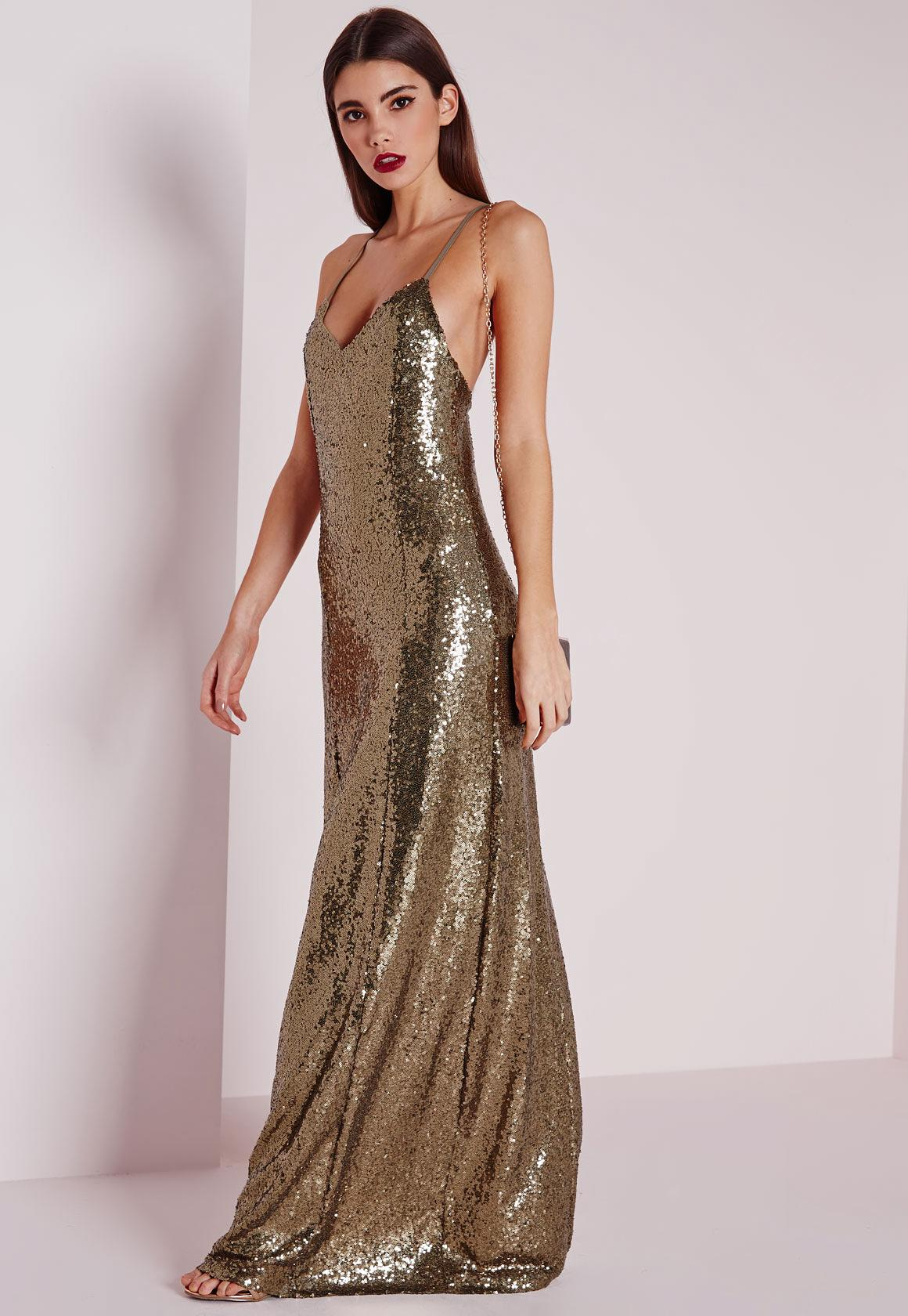 Features of a sequin maxi dress