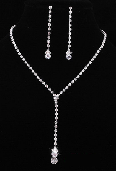 prom jewelry new arrived wedding bridal jewelry set crystal rhinestone tennis necklace  earring set silver color tdhgzfk