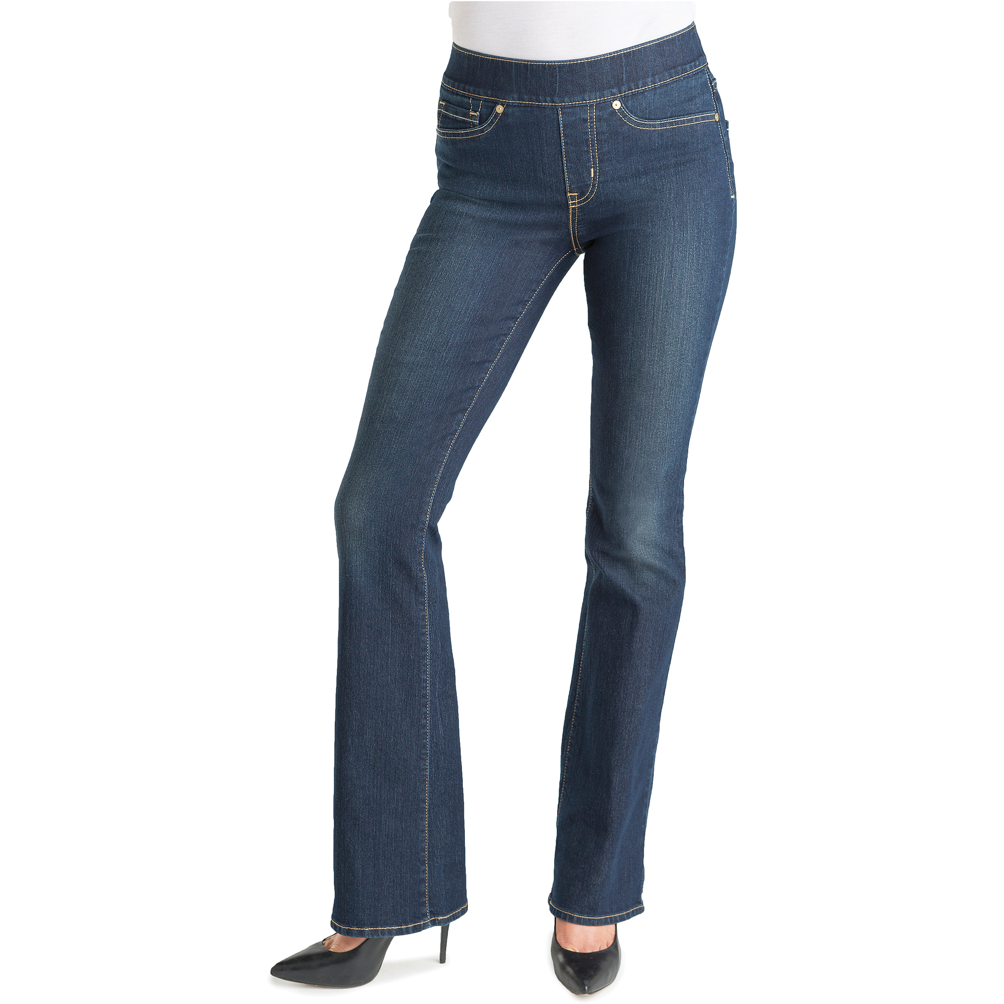 pull on jeans womenu0027s totally shaping pull on bootcut jeans - walmart.com laceoev