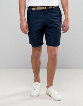 pullu0026bear smart chino shorts with belt in navy fjzvavt