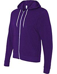 purple hoodie bella + canvas unisex poly-cotton fleece full-zip hoodie - 3739 twbqolq