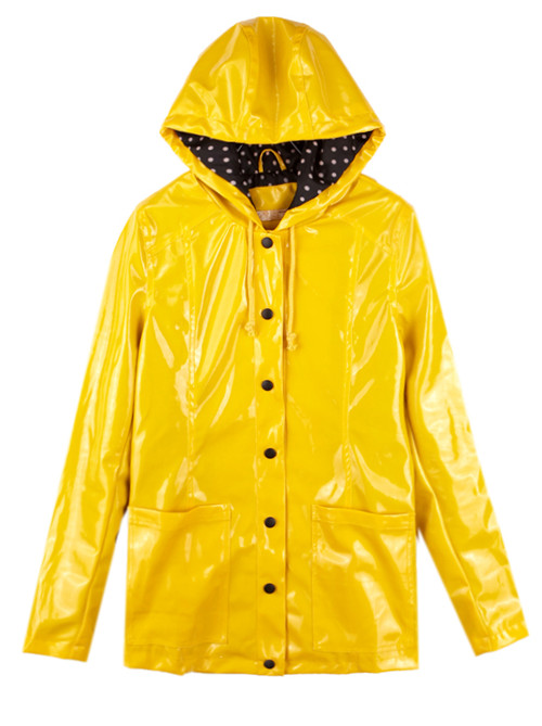 rain coat yellow vintage dot raincoat outerwear -shein(sheinside) pyjardc