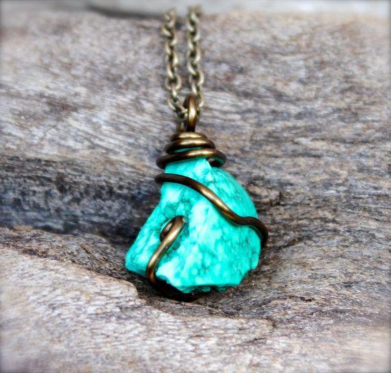 raw turquoise necklace raw stone jewelry by mermaidtearsdesigns, $48.00 hjfnwwu