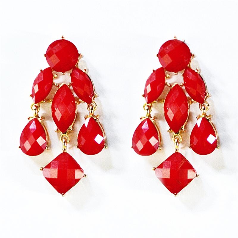 red earrings chandelier earrings red statement with dangle drops by sscgsbi