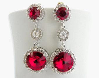 red earrings red bridal earrings | etsy ityeius